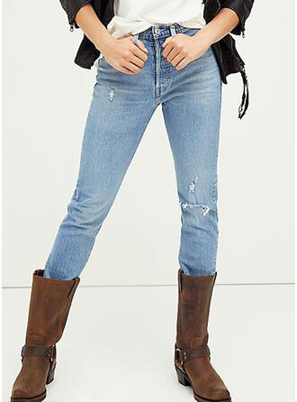 Déchiré Élégante Plaine Jeans