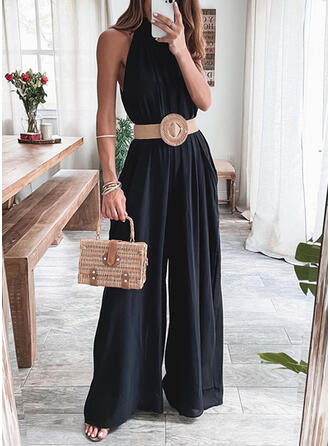 Solid High Neck Sleeveless Casual Elegant Office/Business Jumpsuit