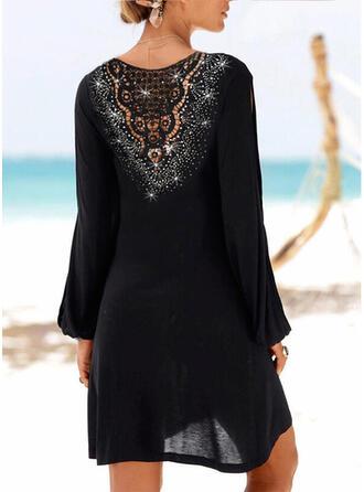 Dentelle/Paillettes/Couleur Unie Manches Longues Droite Au-dessus Du Genou Petites Robes Noires/Vacances Tunique Robes