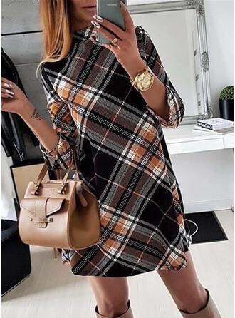 Plaid Long Sleeves Shift Above Knee Casual/Elegant Dresses