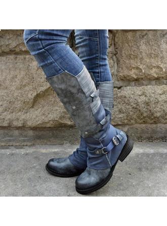 Femmes PU Talon bottier Bottes mi-mollets bout rond Bottes cavalières avec Boucle Zip Dentelle chaussures
