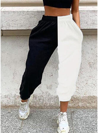 Patchwork Les poches Grande taille Longue Décontractée Sportif Pantalon