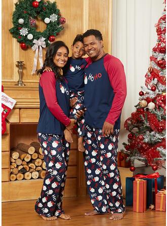 Père Noël Couleur-Bloc Letter Tenue Familiale Assortie Pyjama De Noël