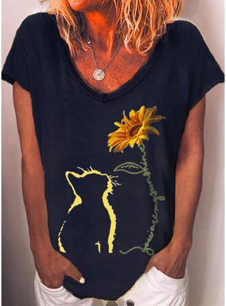 Imprimé Animal Impression de tournesol Col V Manches Courtes Décontractée T-shirts