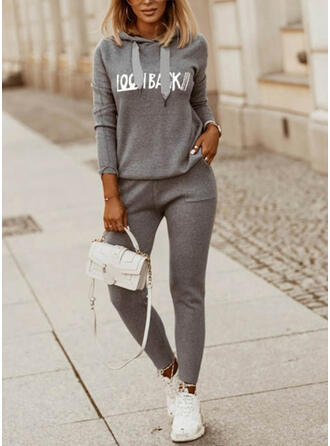 Letter Print Casual Plus Size Sweatshirts & Two-Piece Outfits Set
