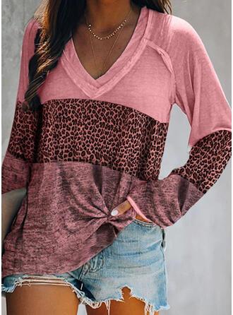 Color Block Leopard V-Neck Long Sleeves T-shirts