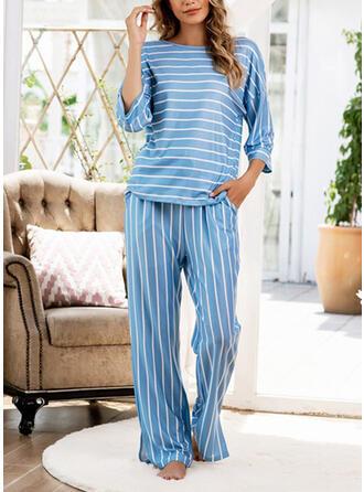 Mélange de coton Striped Grande taille Col Rond Manches Longues Ensemble pyjama
