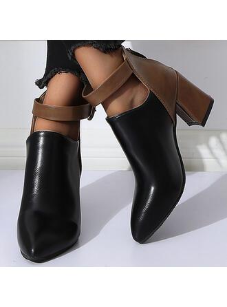 Femmes PU Talon bottier Bottines avec Boucle Zip chaussures