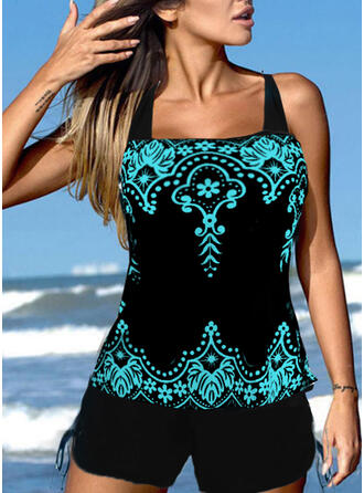 PolkaDot Print Floral Strap U-Neck Plus Size Boho Tankinis Swimsuits