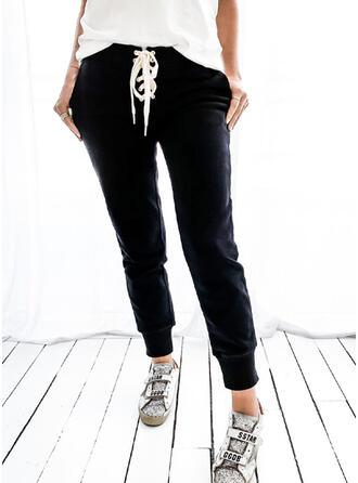 Couleur Unie Cordon Longue Décontractée Sportif Pantalon