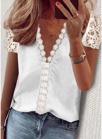 Solid Lace V-Neck Short Sleeves Elegant Blouses