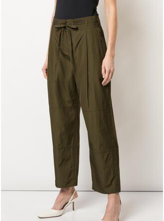 Couleur Unie Bowknot Élégante Ancien Pantalons de détente