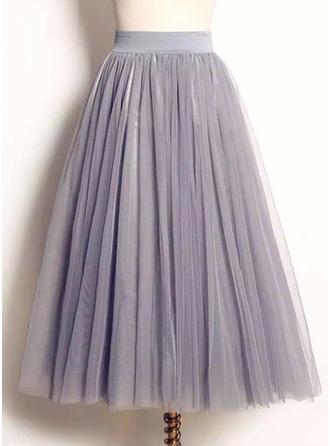 Polyester Couleur unie Mi-Mollet Jupes trapèze