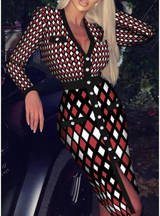 Imprimée Manches Longues Fourreau Élégante Midi Robes