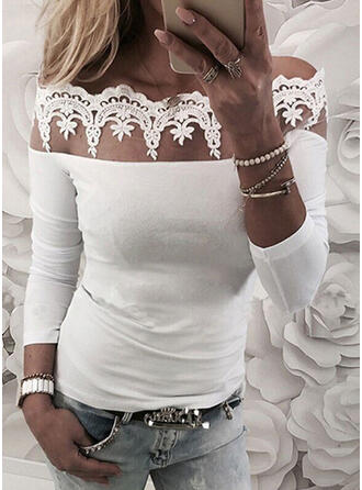 Solid Lace Off the Shoulder Long Sleeves T-shirts