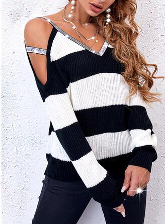Print Color Block Sequins Cold Shoulder Casual Sweaters