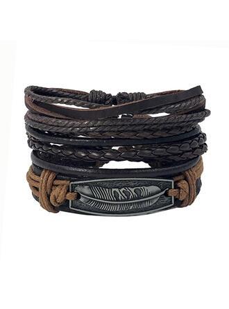 Bohème Alliage Cuir avec Feather Étiquette Bracelets 3 PIÈCES