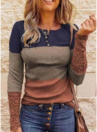 Color Block Lace Round Neck Long Sleeves Casual Blouses