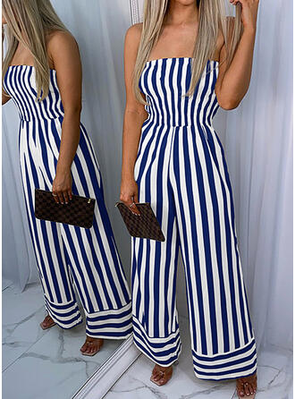 Striped Strapless Sleeveless Casual Jumpsuit