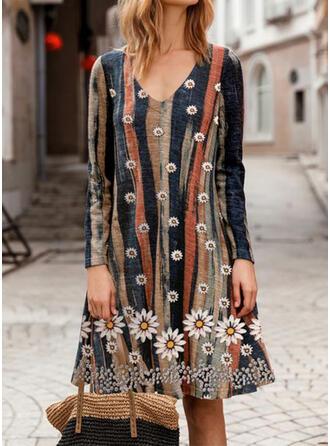 Imprimée/Fleurie/À Rayures Manches Longues Droite Longueur Genou Décontractée Tunique Robes