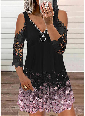 Print/Floral Lace 3/4 Sleeves Cold Shoulder Sleeve Shift Above Knee Casual Tunic Dresses