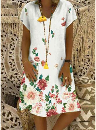 Print/Floral Short Sleeves Shift Knee Length Casual T-shirt Dresses