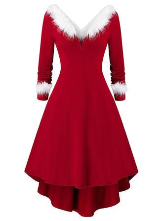 Couleur Unie Manches Longues Trapèze Longueur Genou Noël/Fête Patineuse Robes