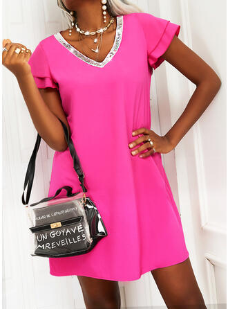 Solid Sequins Short Sleeves Shift Above Knee Casual Tunic Dresses