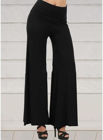 Couleur Unie Froncé Grande taille Longue Décontractée Élégante Sexy Pantalon