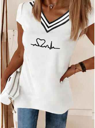 Heart Print Striped V-Neck Short Sleeves T-shirts