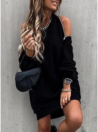 Couleur Unie Manches Longues/Épaule Froide Droite Au-dessus Du Genou Petites Robes Noires/Sexy/Fête Robe Sweat Robes
