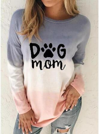Print Gradient Letter Animal Round Neck Long Sleeves Sweatshirt