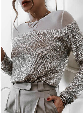 Solid Round Neck Long Sleeves Party Blouses
