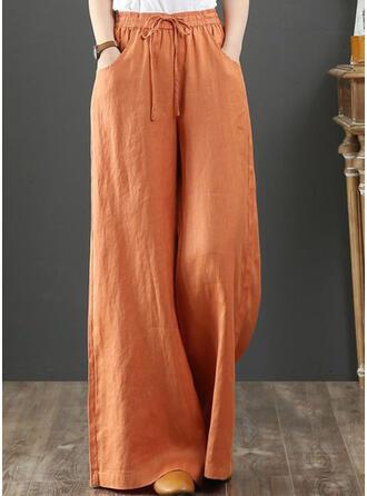 Les poches Froncé Grande taille Longue Boho Décontractée Élégante Pantalon