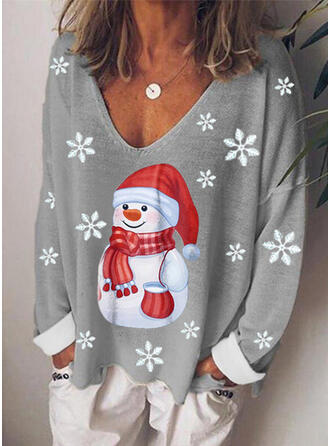 Christmas Print V-Neck Long Sleeves T-shirts