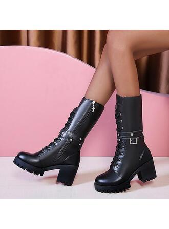 Femmes PU Talon bottier Bottes mi-mollets bout rond Martin bottes avec Zip Dentelle chaussures