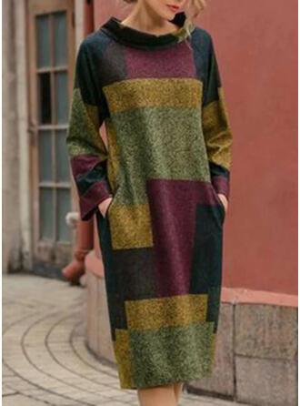 Couleur De Bloc Manches Longues Droite Longueur Genou Décontractée Tunique Robes