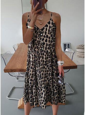 Leopard Sleeveless Shift Slip Casual Midi Dresses