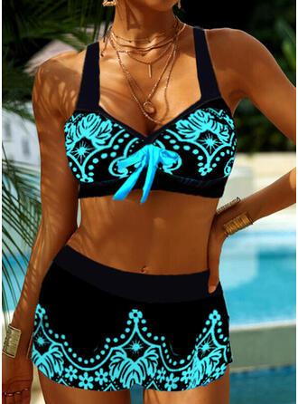 Print Floral Strap V-Neck Plus Size Casual Bikinis Swimsuits