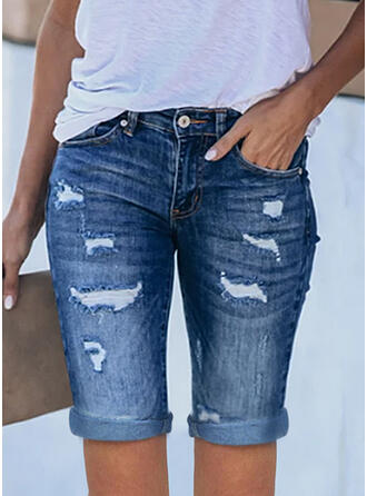 Solid Denim Above Knee Casual Plus Size Office/Business Pocket Ripped Shorts Denim & Jeans