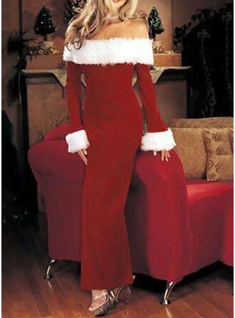 Couleur Unie Manches Longues Fourreau Noël/Fête Maxi Robes