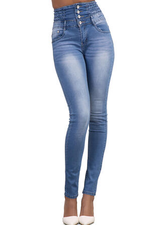 Les poches Froncé Longue Élégante Sexy Jeans
