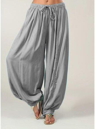Les poches Froncé Grande taille Longue Boho Décontractée Pantalon
