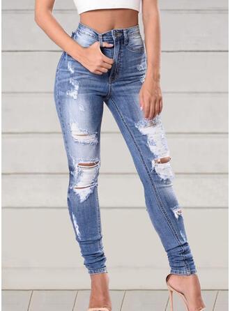 Patchwork Grande taille Déchiré Élégante Sexy Jeans