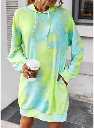 Tie Dye Manches Longues Droite Au-dessus Du Genou Décontractée Robe Sweat Robes