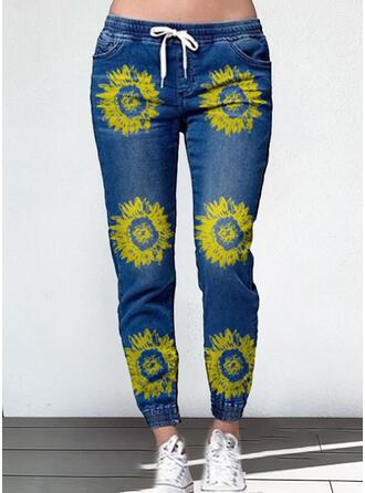 Fleurie Grande taille Cordon Décontractée Plaine Jeans