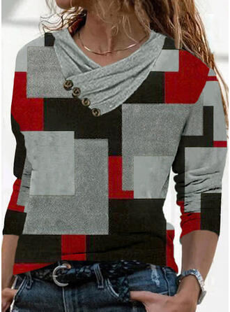 Color Block Print Geometric V-Neck Long Sleeves T-shirts