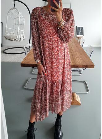 Imprimée/Fleurie Manches Longues Droite Tunique Décontractée Midi Robes