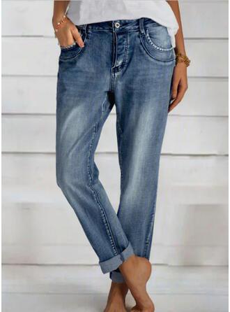 Froncé Longue Élégante Plaine Jeans