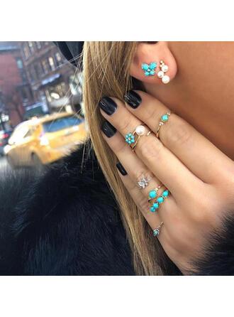 Beautiful Stylish Boho Alloy Women's Ladies' Girl's Earrings Rings 8 PCS